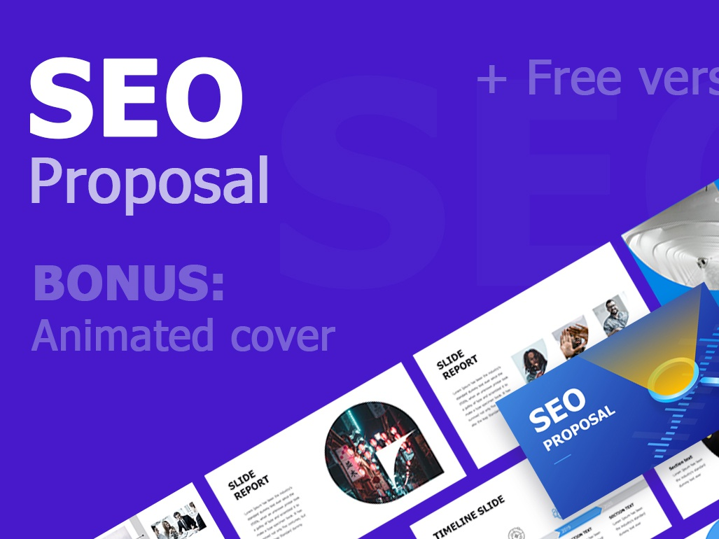 SEO Proposal + Free version popular design best any colors box clean slide icons maps infographics illustration business template presentation keynote powerpoint