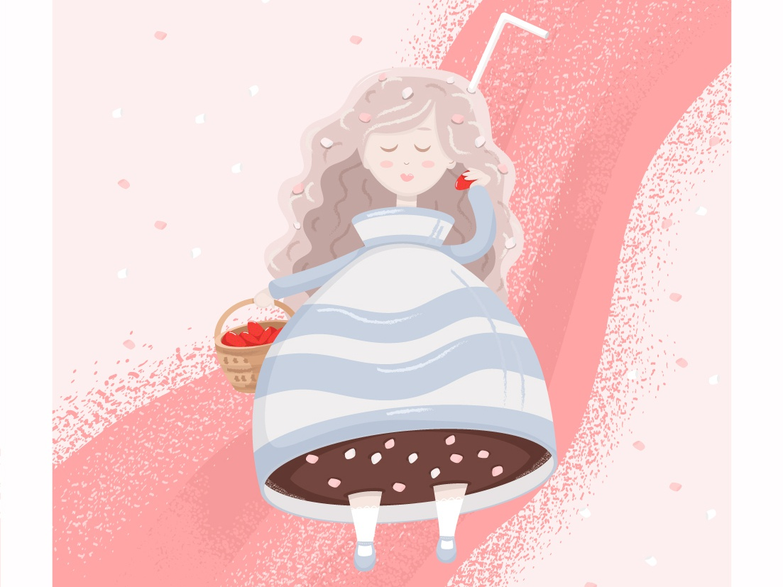 """Cute Girl """"Strawberry Latte"""" latte strawberry art child theme children illustration adobe illustrator coffee children book illustration cartoon fun children art girl cute flat design vector illustration"""