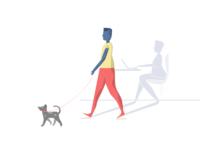 Dog Walking and Working Shadow Illustration