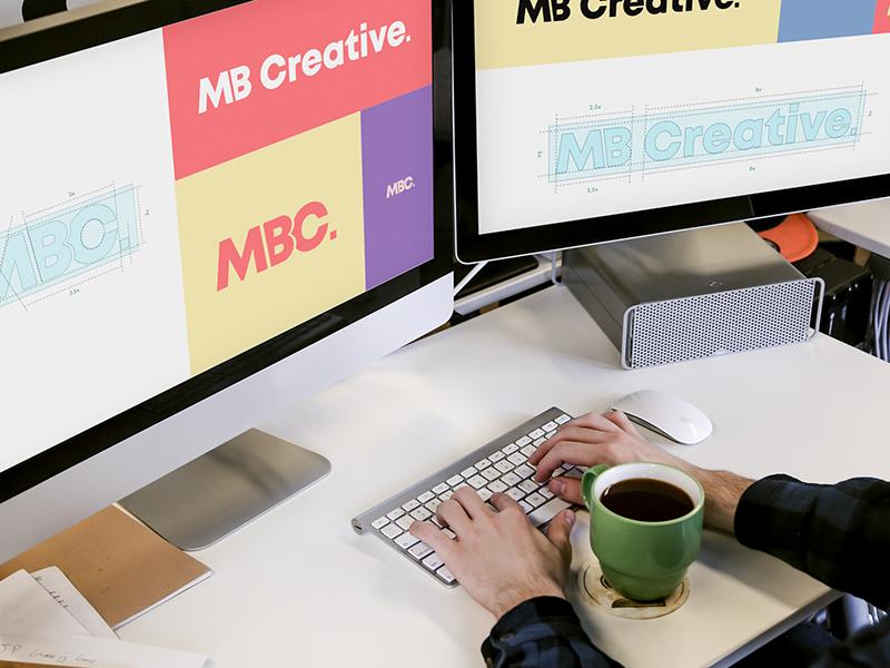 Mbc logo computer mockup