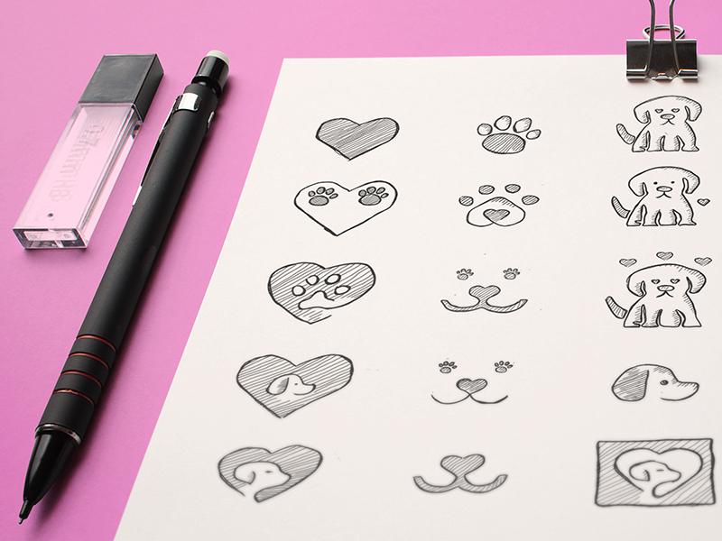 Puppylove logo exploring sketch mockup2