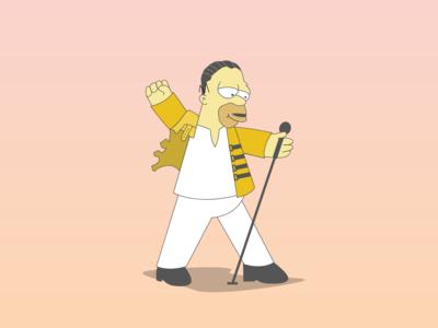 Homer Simpson x Freddie Mercury