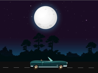 Night ride graphics adobe photoshop illustration music illustrator wallpaper design wallpaper moon night cartoon cars graphic design artworks vector illustration
