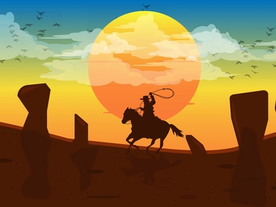 cow boy color movies concept indian character cowboy gradient graphic design graphics artworks vector illustration design