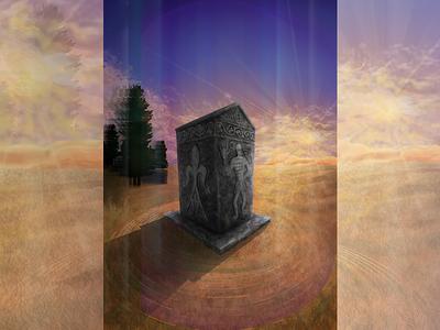 Bosanski Stećak witness time story bosnian tombstones vector design poster art medieval tombstone landscape illustration stone illustration painting adobe illustrator vector art