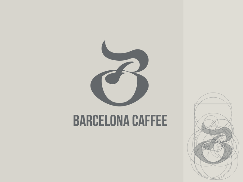 B+Coffee caffè barcelona spoon logo design b mark b letter golden ratio negative space logo coffee logo coffee cup coffee b letter logo branding b logo logo logotype