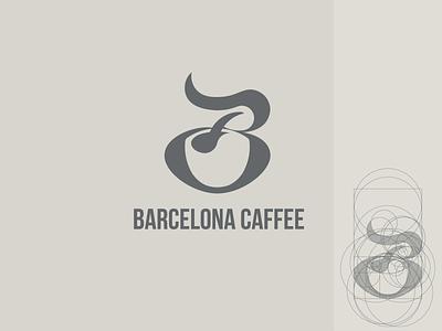B+Coffee caffè barcelona spoon logo design b mark b letter golden ratio negative space logo coffee logo coffee cup coffee b letter logo branding b logo logo logotype