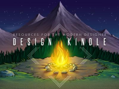 Design Kindle V2 design kindle logo fire mountains trees illustration header wip