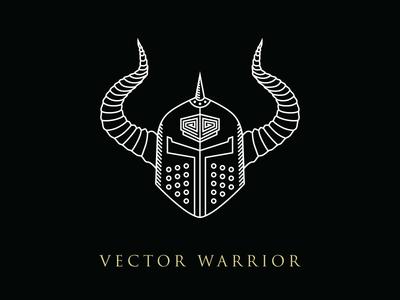 Vector Warrior Line Illustration illustration armor viking helmet warrior vector