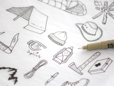 Hand-Drawn Explorer Elements vintage hiking camping hand-drawn adventure explorer outdoors line drawings