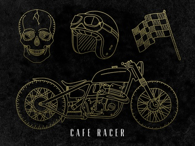 Hand-Drawn Cafe Racer motorcycles bikes racing cafe racer hand drawn