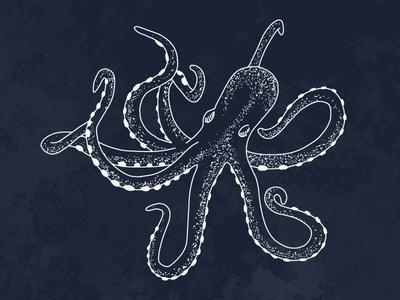 Octopus — Nautical Illustration stipple vector illustration sea ocean nautical octopus