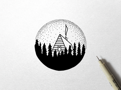Geometric Landscapes Preview trees cabin outdoors stipple sketch drawing illustration ink landscape geometric