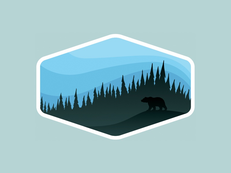 Outdoor Adventure Badges: Preview #1 trees bear camp travel national park nature outdoors logo badge