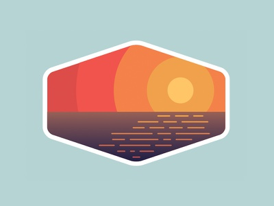 Outdoor Adventure Badges: Preview #3 adventure nature outdoors sunset simple ocean camping national park logo badge