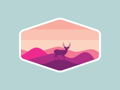 Outdoor Adventure Badges: Preview #5 simple mountains deer vector adventure travel national park badge logo outdoors nature