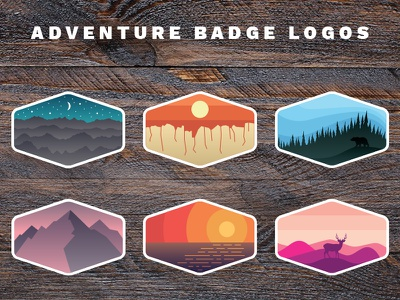 Outdoor Adventure Badges national park wildlife trees mountains outdoors nature adventure logos badges