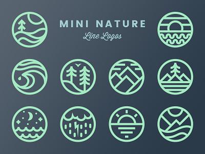 Mini Nature Line Logos - Volume 1 trees mountains circle minimal simple outdoors emblem badge logo line nature