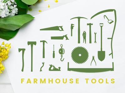 Farmhouse Tool Silhouettes woodwork minimal simple antique saw axe hammer country rustic silhouettes tools farmhouse
