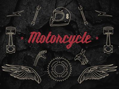 Hand-drawn Motorcycle Elements cafe racer automotive biker vintage vector motorcycle handmade handdrawn