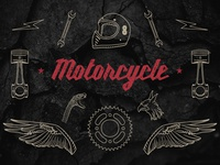 Hand-drawn Motorcycle Elements