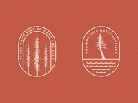 Tree Badge Logo Preview #3 handmade illustration badges trees camping hiking rustic logo vintage vector outdoors nature