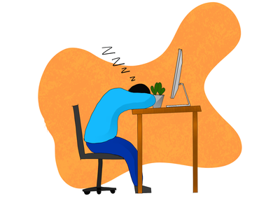 Hard Work hard work sleeping desk illustration