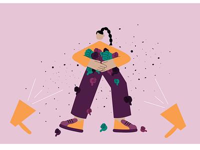DisLike girl graphic digital illustration illustration art icon dislike likes ilustrare design adobe illustrator colors vector illustration