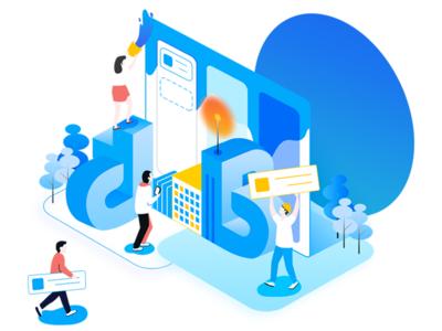illustration for teambition landing page project management tool illustration