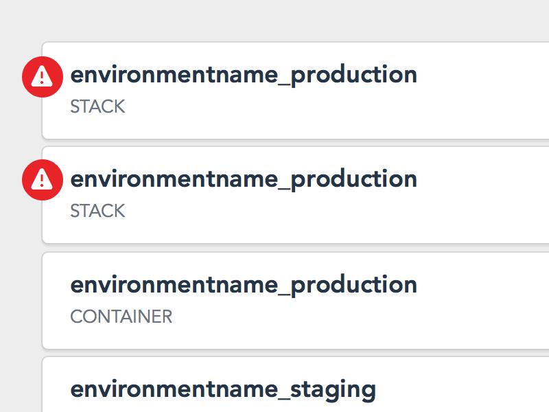 Environments dashboard notification status alerts