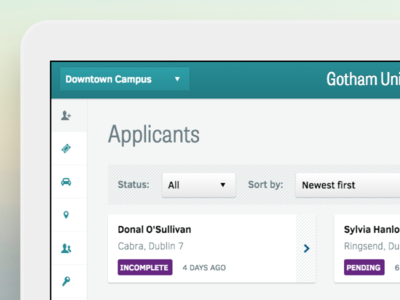 Applicants dashboard