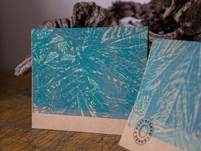 Blue Botanical Greeting Card greeting cards print pattern illustration linocut notecard printmaking postmarkedvenus