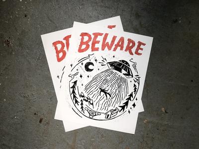 Beware of Aliens Linocut Print line art fine art ufo art aliens typography illustration printmaking linoprint linocut