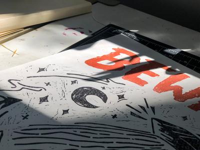 Beware of Aliens Linocut Print typography linocut style linoleum printmaker fine art illustration block print linoprint printer printmaking linocut print