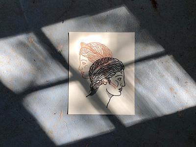 Apollo and Artemis Linoprint mythology block printing woodcut linocut style line art poster art illustration printmaking linocut print greek and roman