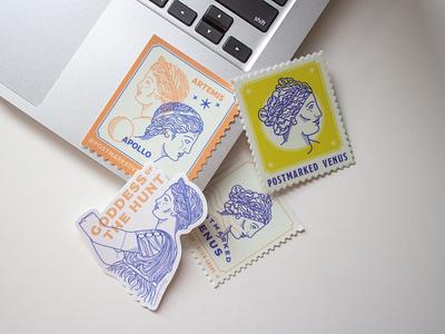 Postmarked Venus Stickers post office stamp design postmarked venus greek line art stickermule stickers branding illustration graphic design