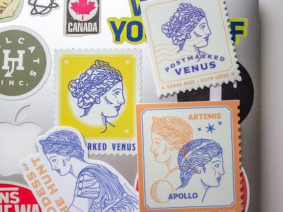Postmarked Venus Stickers greek mythology post office stamps stickers art history postmarked venus printmaking branding illustration graphic design