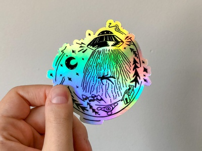 Holographic UFO Stickers space linocut sticker holograph x-files aliens ufo printmaking illustration