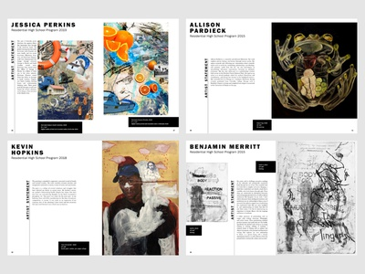 Alumni Exhibition Catalog fine arts publish visual arts catalog layout graphic design typography publication design magazine format spreads