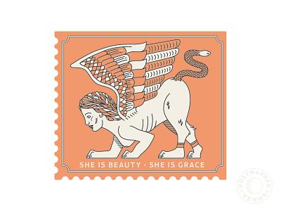 Postmarked Venus Sticker Idea line artwork illustrator greek mythology mythical creature branding decals sticker design graphic design printmaking postmarkedvenus sphinx illustration stamp design