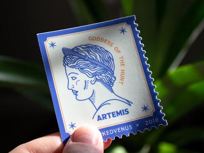 Postmarked Venus Sticker line work line art linocut branding printmaking illustration typography graphic design greek gods greek mythology artemis