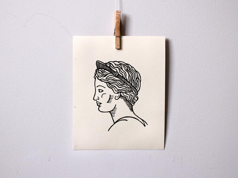 Roman Sculpture Print postmarked venus roman sculpture drawing line art hand printed design artwork etsy handmade linocut illustration