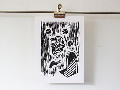 A Strange and Wonderful Place fine art printing press letterpress carving david lynch mc escher twin peaks woodcut lino print linoleum linocut printmaking illustration