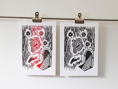 A Strange and Wonderful Place fine art prints print linoprint linocut woodblock print woodcut letterpress printing press print design mc escher twin peaks printmaking illustration