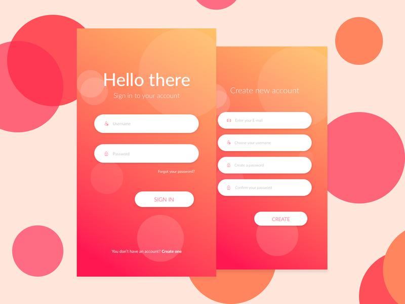 Login & New Account Form design form design mobile app gradient login form ui  ux