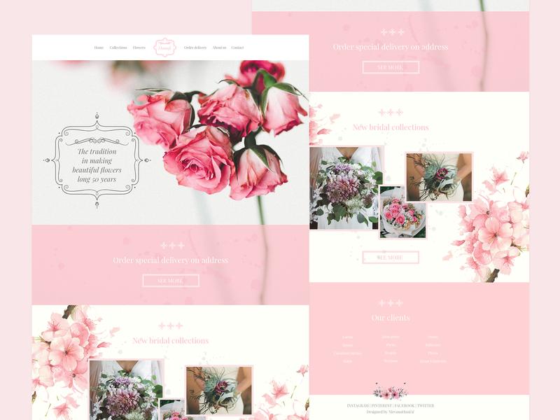 Damask - Flower Shop Landing Page flowershop feminine design pink flowers landing page ui  ux webdesign