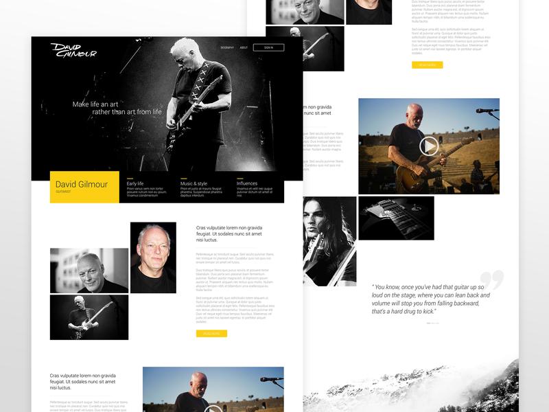 David Gilmour Homepage ui design uiux webdesign landing page ui  ux
