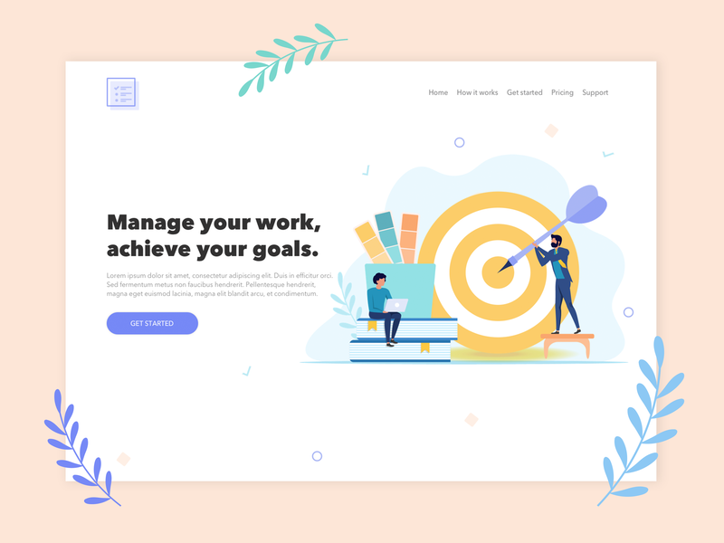 Goals Lab Task Manager - Landing Page design ui vector illustration landing page webdesign ui  ux