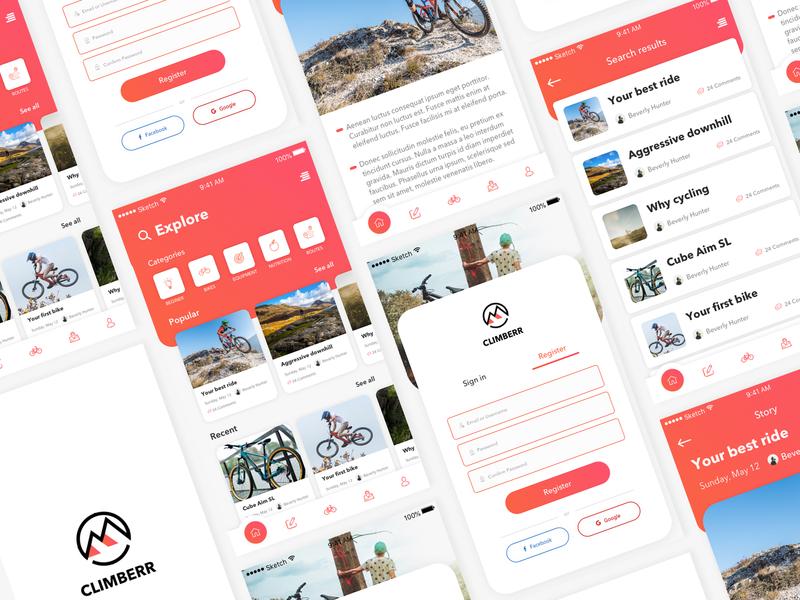 Climberr App Interface biking downhill mountain biking ios app design ui ui  ux