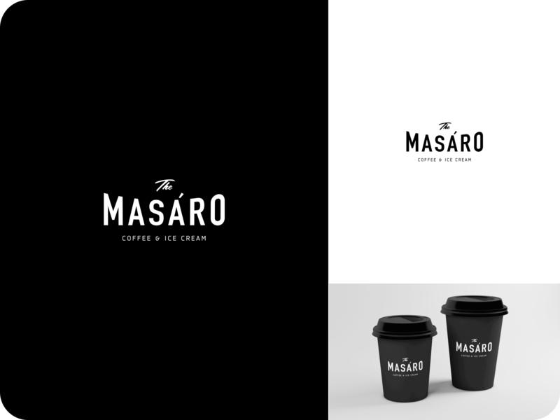 Logotype for Masaro Coffee & Ice cream cup identity minimalistic logo coffeeshop coffee coffee logo simple minimal logo mark design branding logotype typography brand brand identity clean